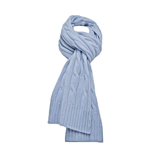 Light Blue Cashmere Cable Scarf