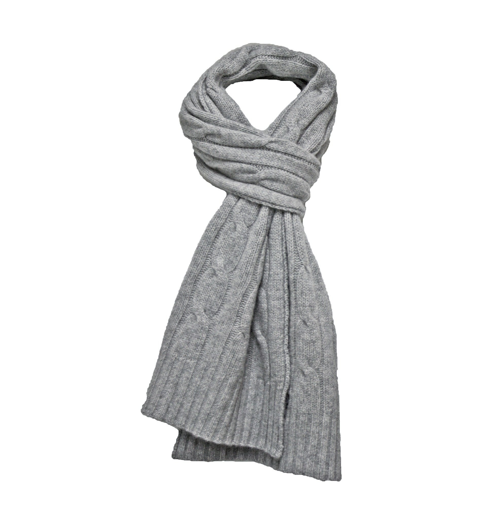 Mid Grey Cashmere Cable Scarf - Hommard