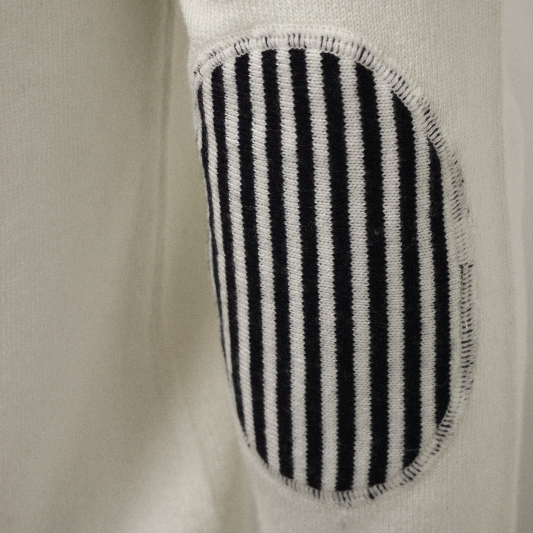 Men´s Silk Cashmere Button Neck Sweater Woolwhite elbow patch