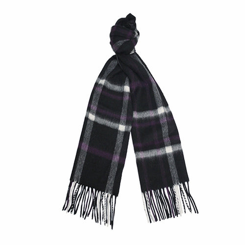 Black Grey Purple Cashmere Woven Check Scarf