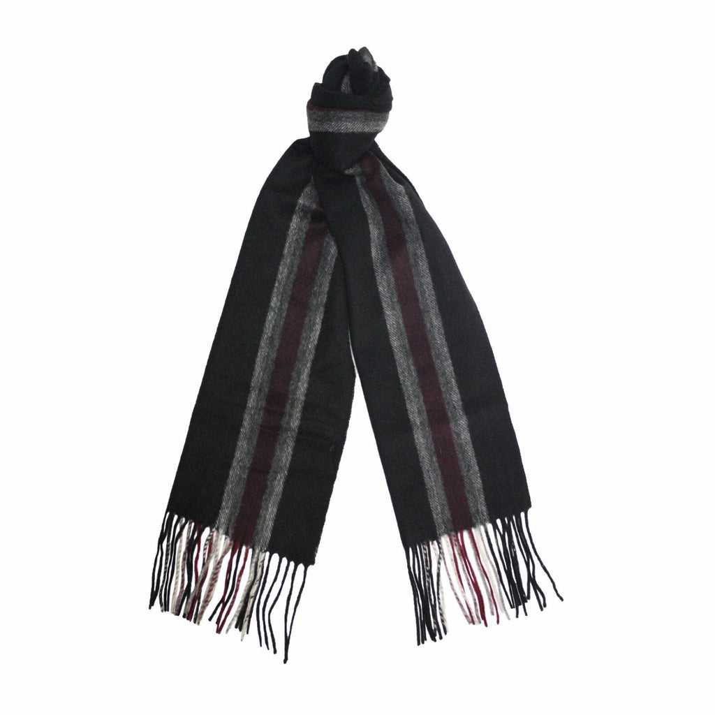 Black Grey Red Cashmere Woven Stripe Scarf - Hommard