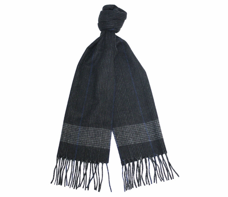 Charcoal Silver Blue Cashmere Woven small Stripe Scarf - Hommard