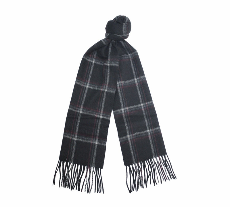 Grey Camel Cashmere Woven Check Scarf - Hommard
