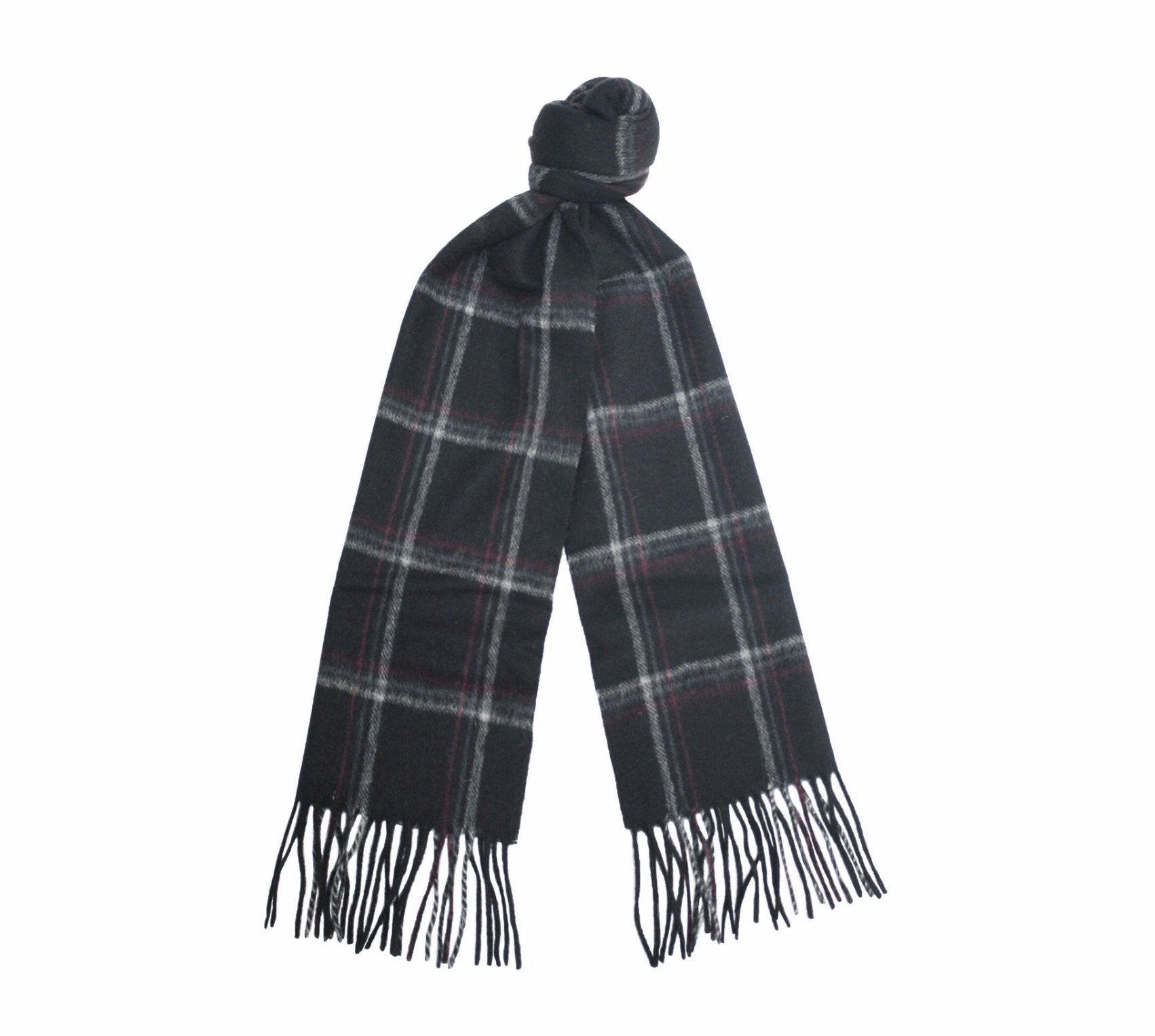 Black Silver Red Cashmere Woven small Check Scarf - Hommard