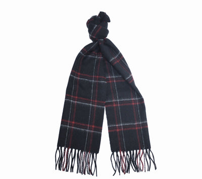 Black Red Silver Cashmere Woven small Check Scarf - Hommard