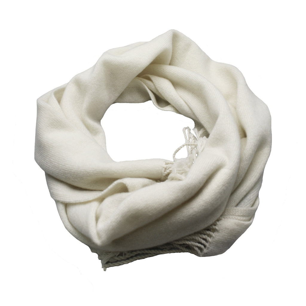Wool white Cashmere Scarf Light Weight Knitted - Hommard