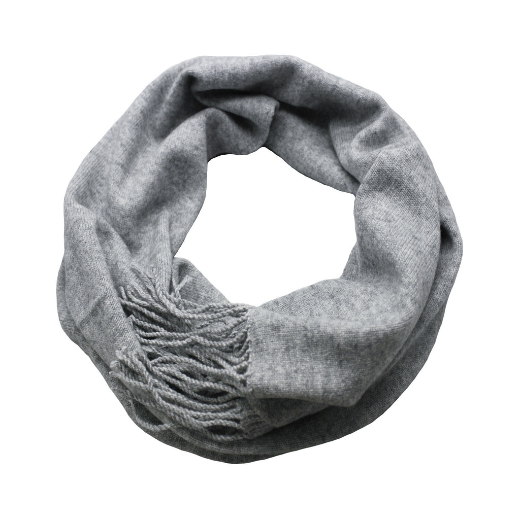 Silver Grey Cashmere Scarf Light Weight Knitted - Hommard