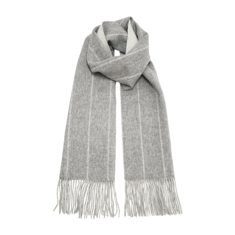 Silver Grey Woolwhite stripe Cashmere Woven Double Face Scarf - Hommard