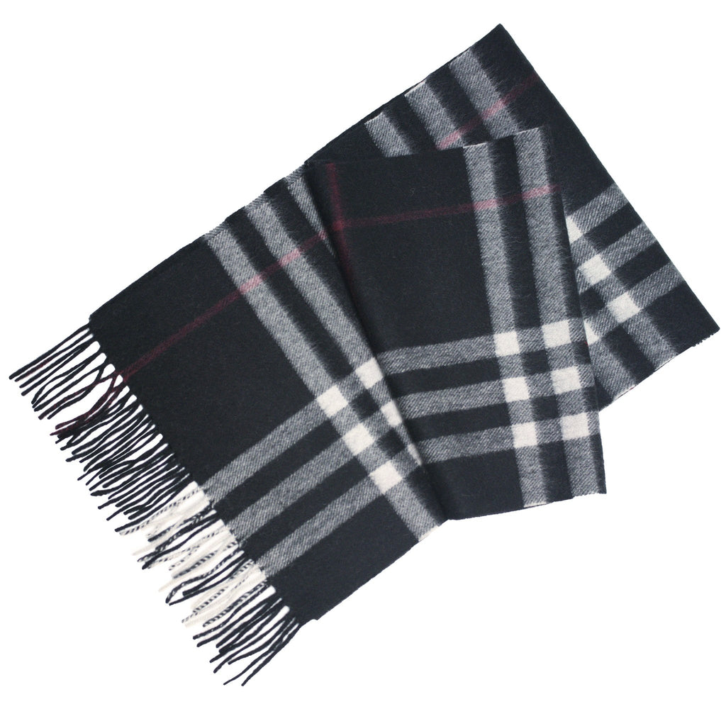 Black Silver Red Cashmere Woven Check Scarf - Hommard