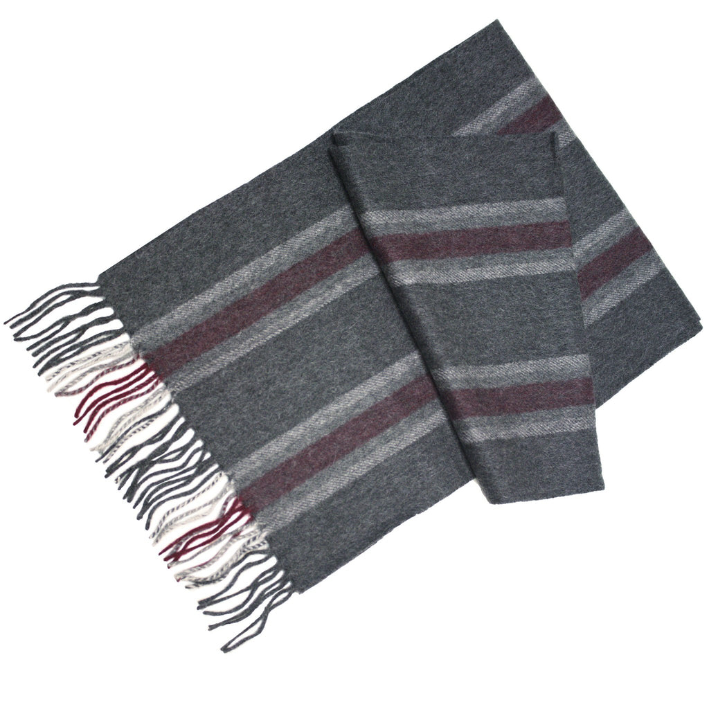 Grey Silver Red Cashmere Woven Stripe Scarf - Hommard