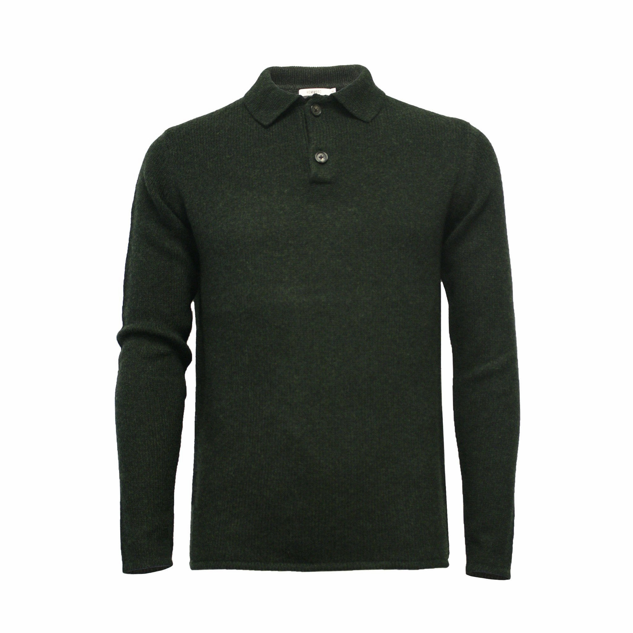Men´s Cashmere Polo Neck Sweater in heavy jersey stitch Spruce green