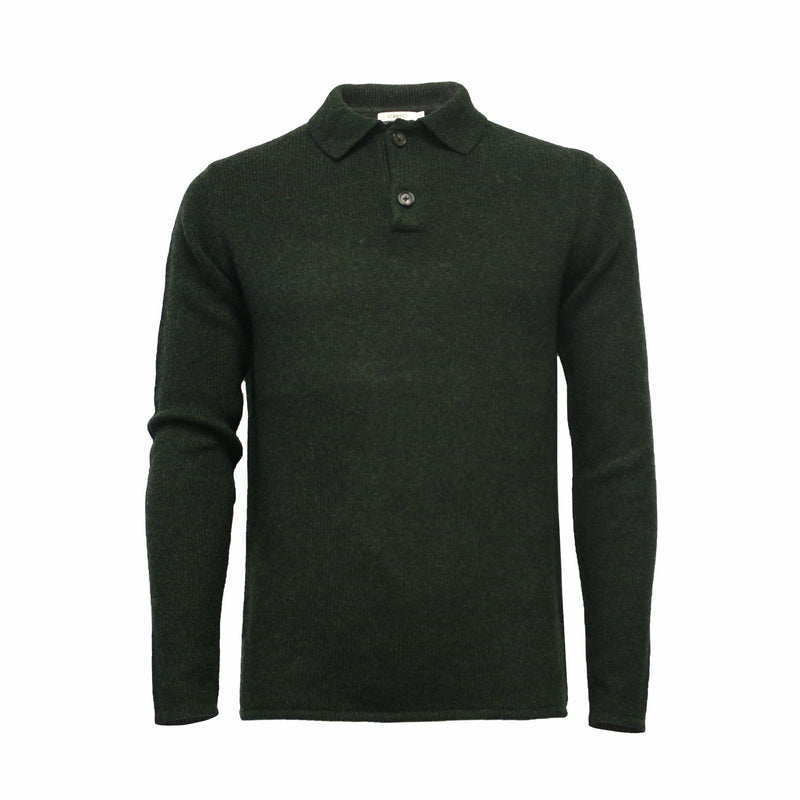 Men´s Cashmere Sweater Polo Neck heavy Jersey Mercury - Hommard