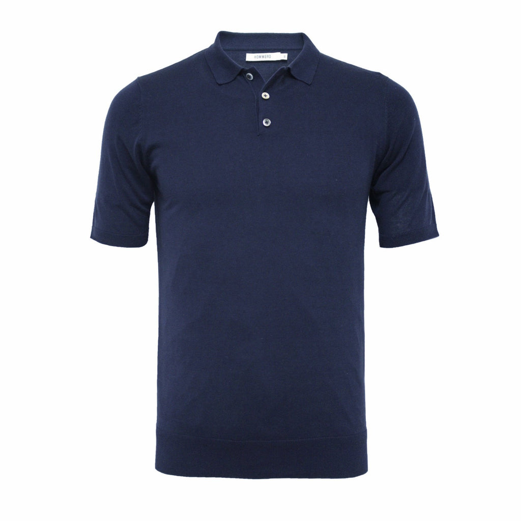 Black Men´s Silk Polo Shirt 3 Buttons - Hommard