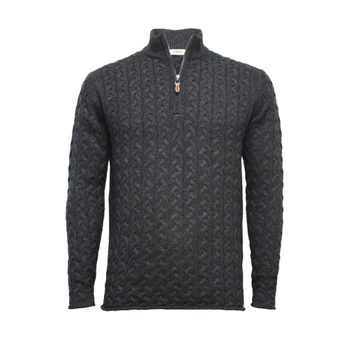 Men´s Cashmere Half Zip Sweater in Full Cable knit Neil