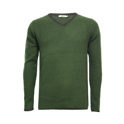 Cedak Green Men´s Cashmere V Neck Sweater with contrast - Hommard