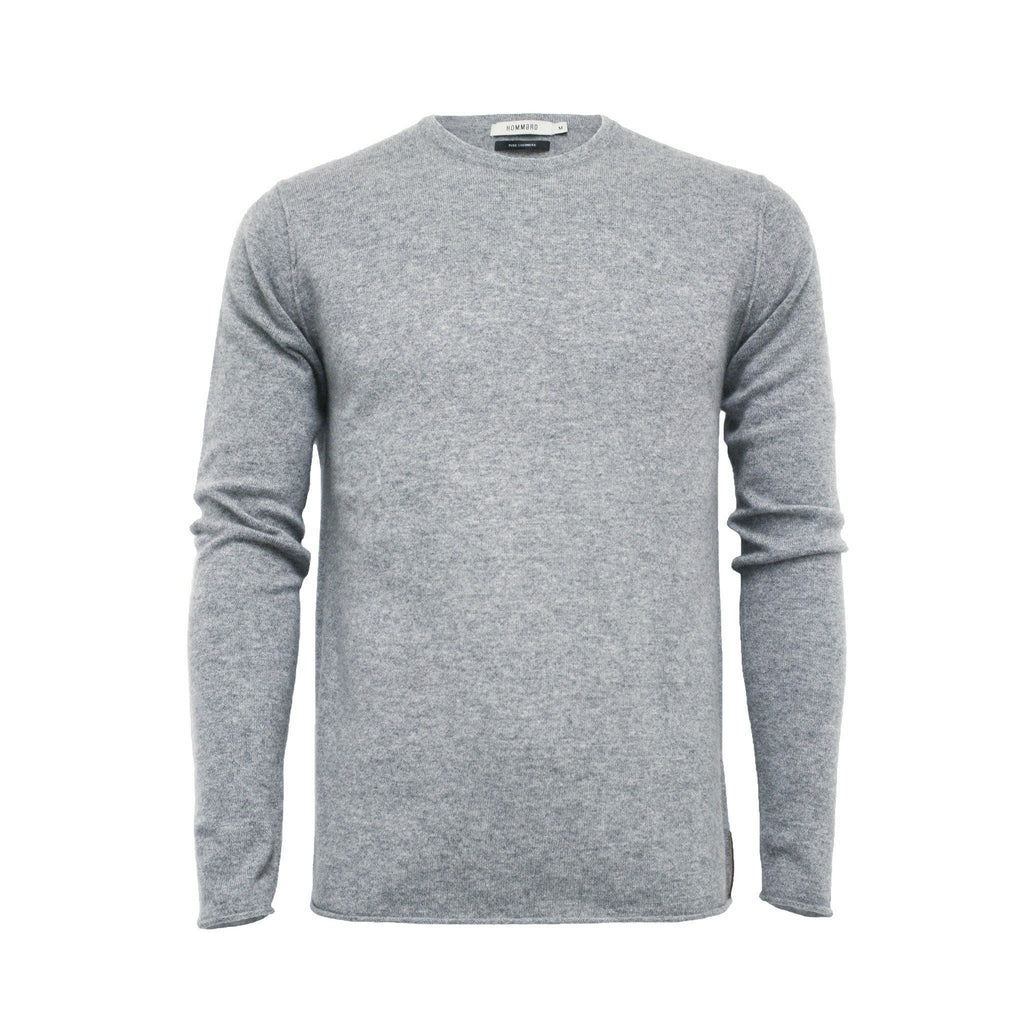 Silver Grey Men´s Cashmere Crew Neck Sweater Ripley - Hommard