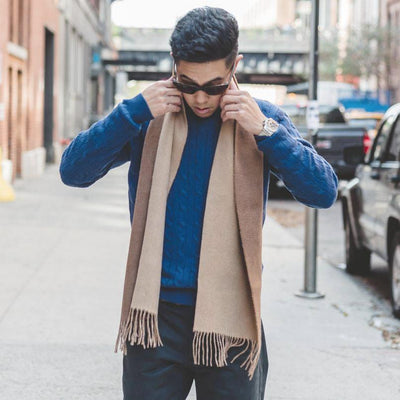 Brown Camel Cashmere Woven Double Face Scarf - Hommard