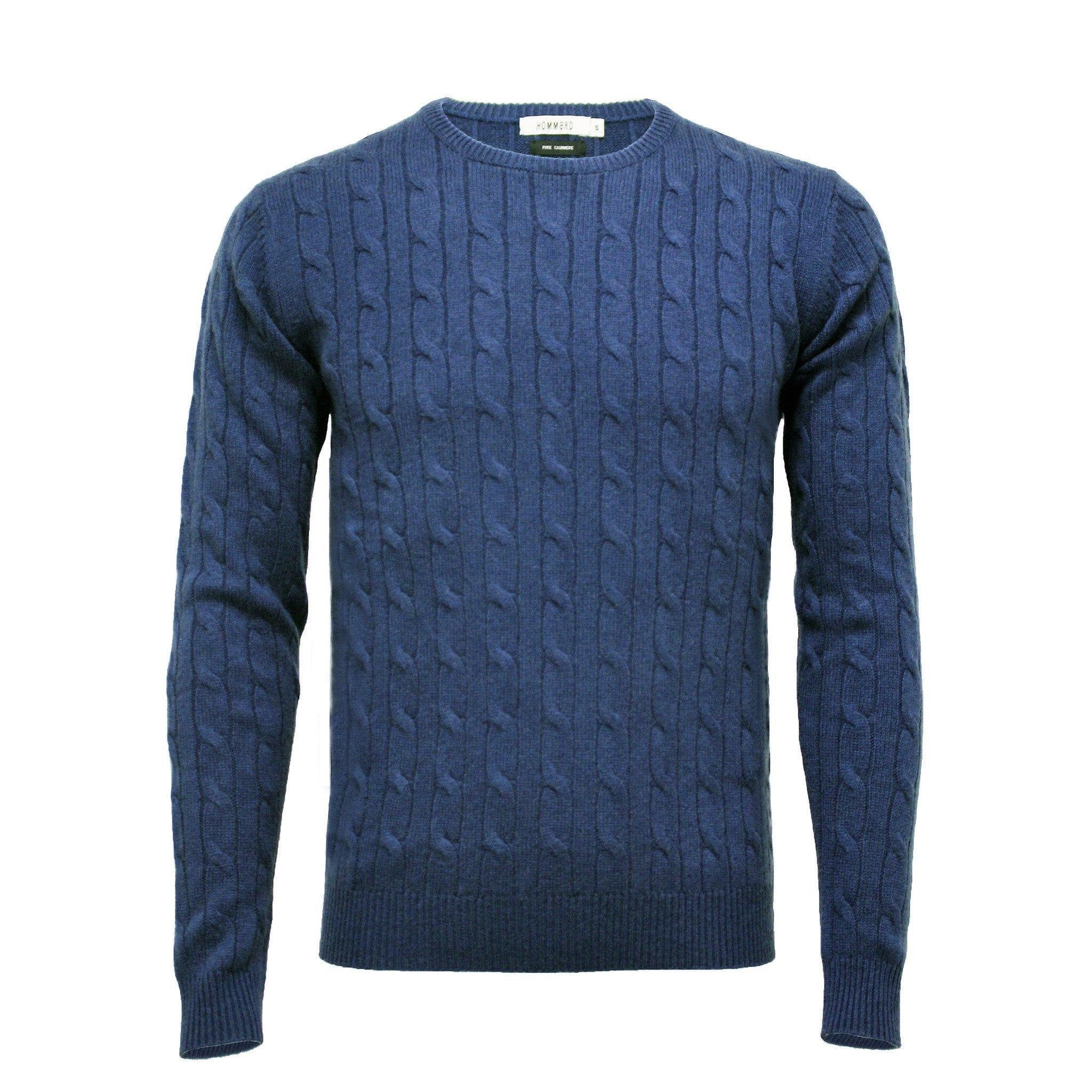 Men´s Cashmere Crew Neck Cable Sweater - Hommard
