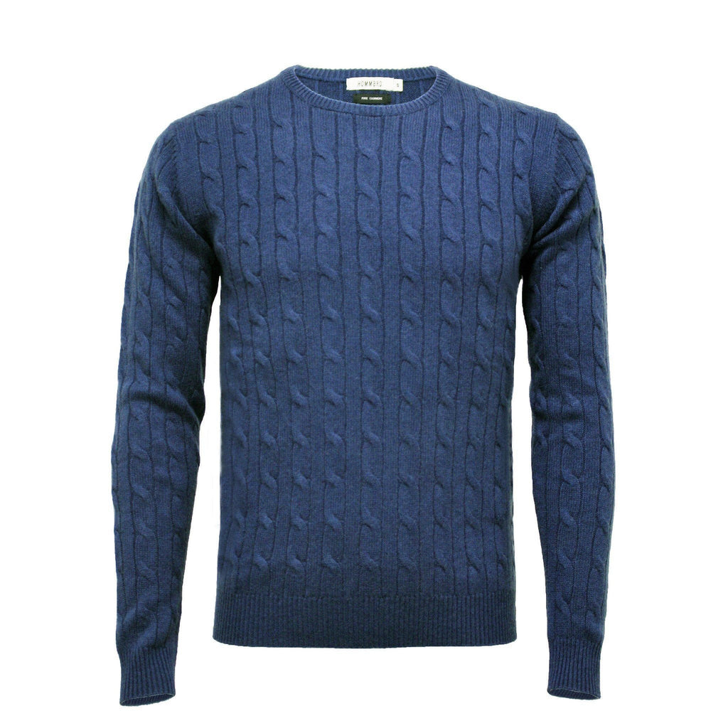 Black Men´s Cashmere Crew Neck Cable Sweater - Hommard