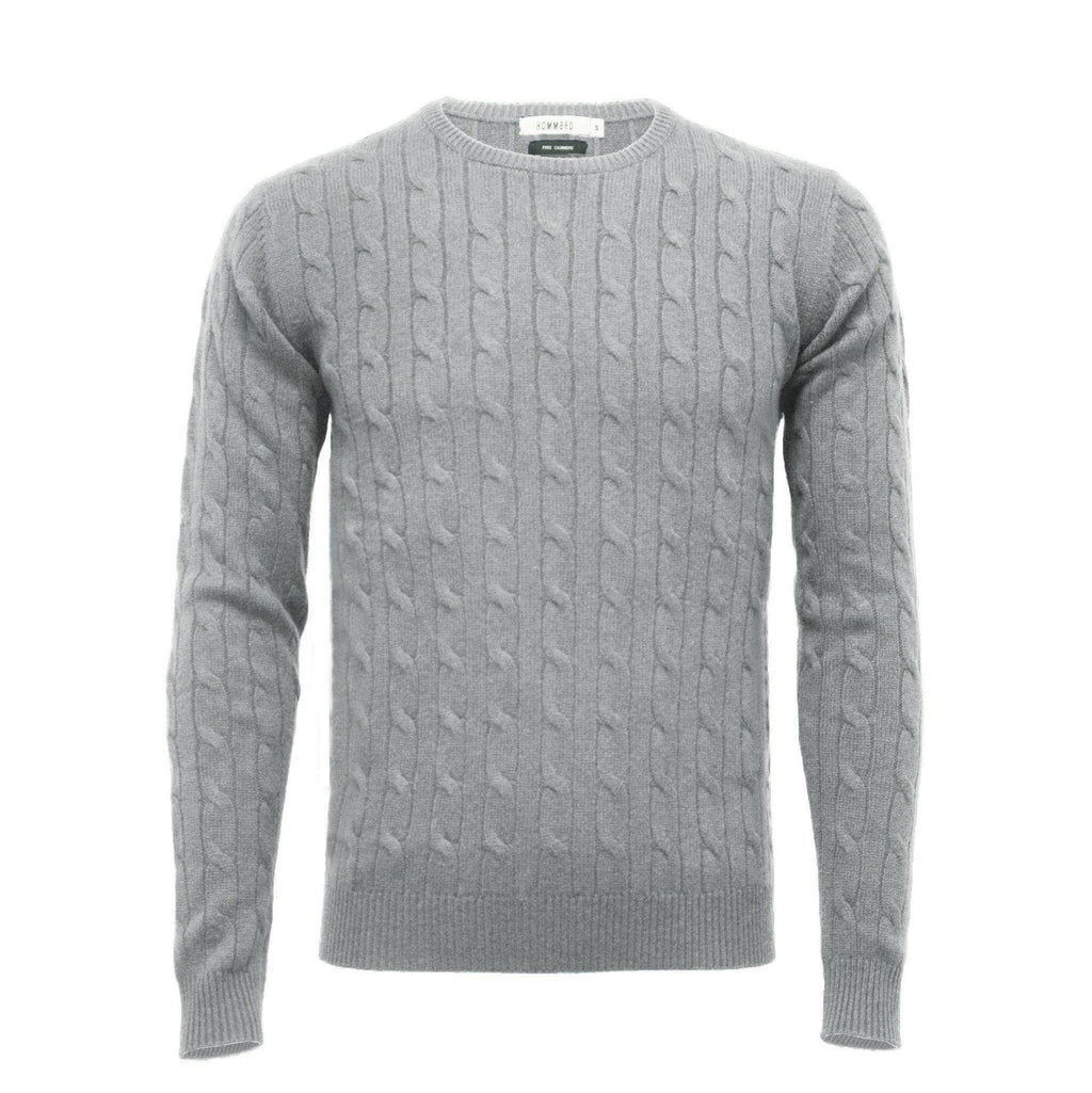 Silver Grey Men´s Cashmere Crew Neck Cable Sweater - Hommard