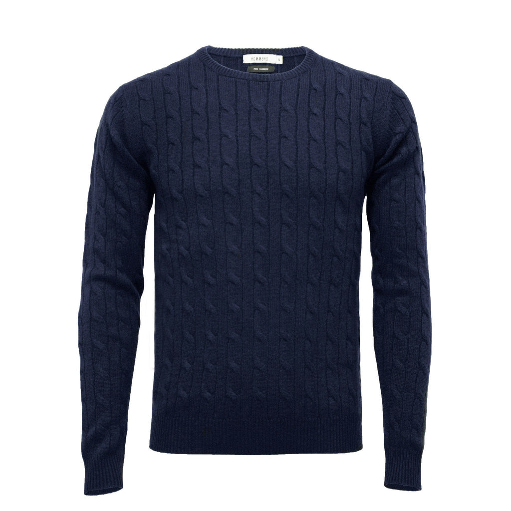 Navy Men´s Cashmere Crew Neck Cable Sweater - Hommard