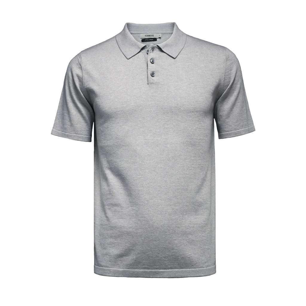 Grey Men´s Cotton Cashmere 3 Button Polo Shirt Oahu - Hommard