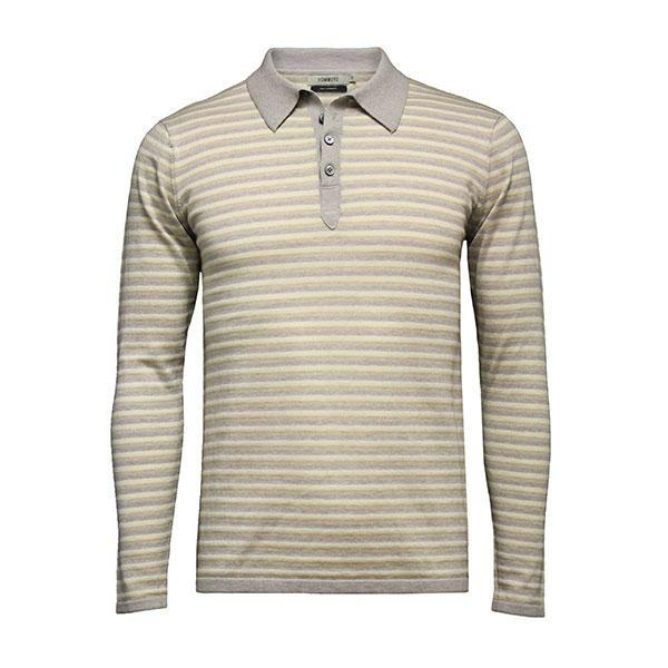 Men´s Striped Long Sleeve Polo Shirt - Hommard