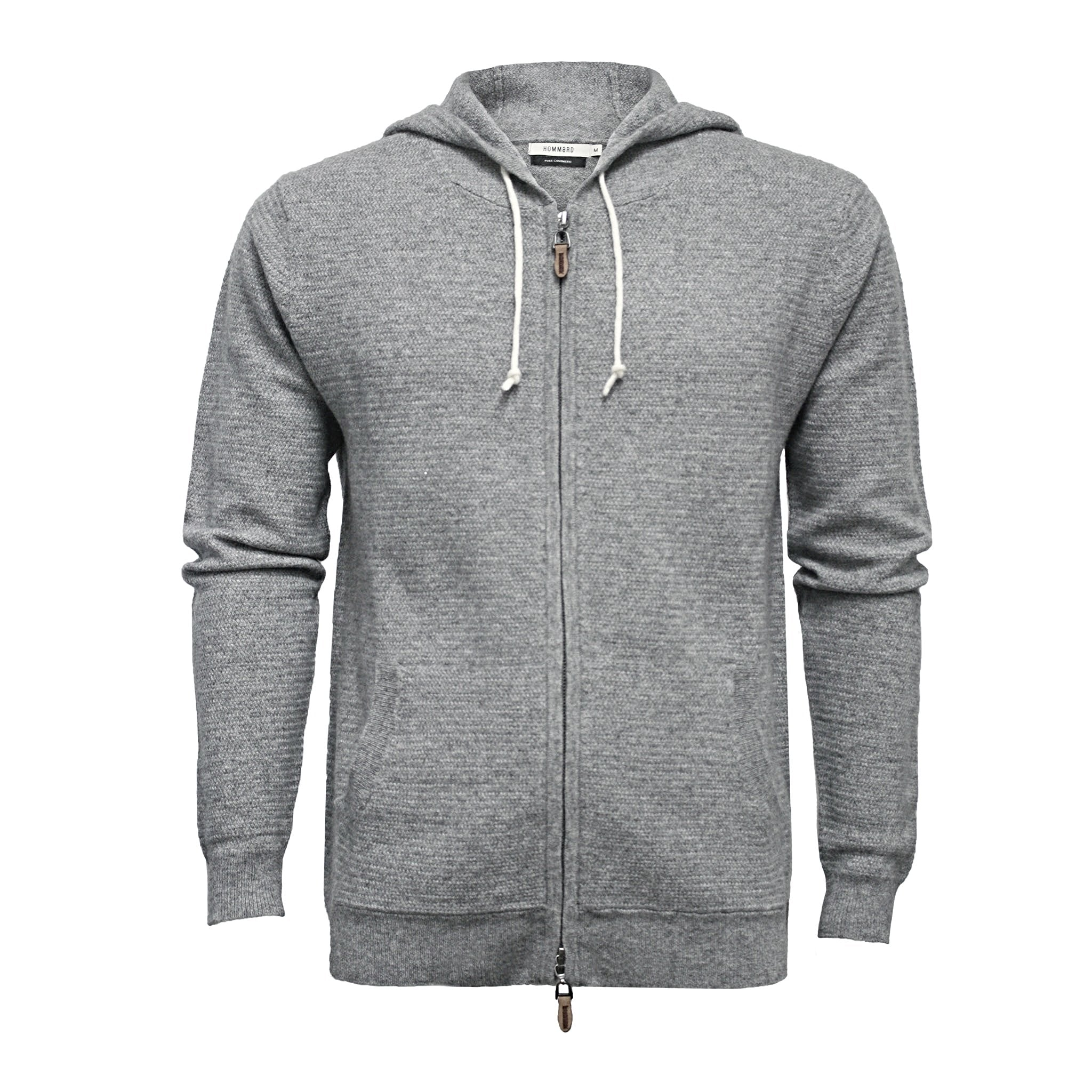 Men´s Hooded Cashmere Sweater in small Herringbone stitch Cervinia - Hommard