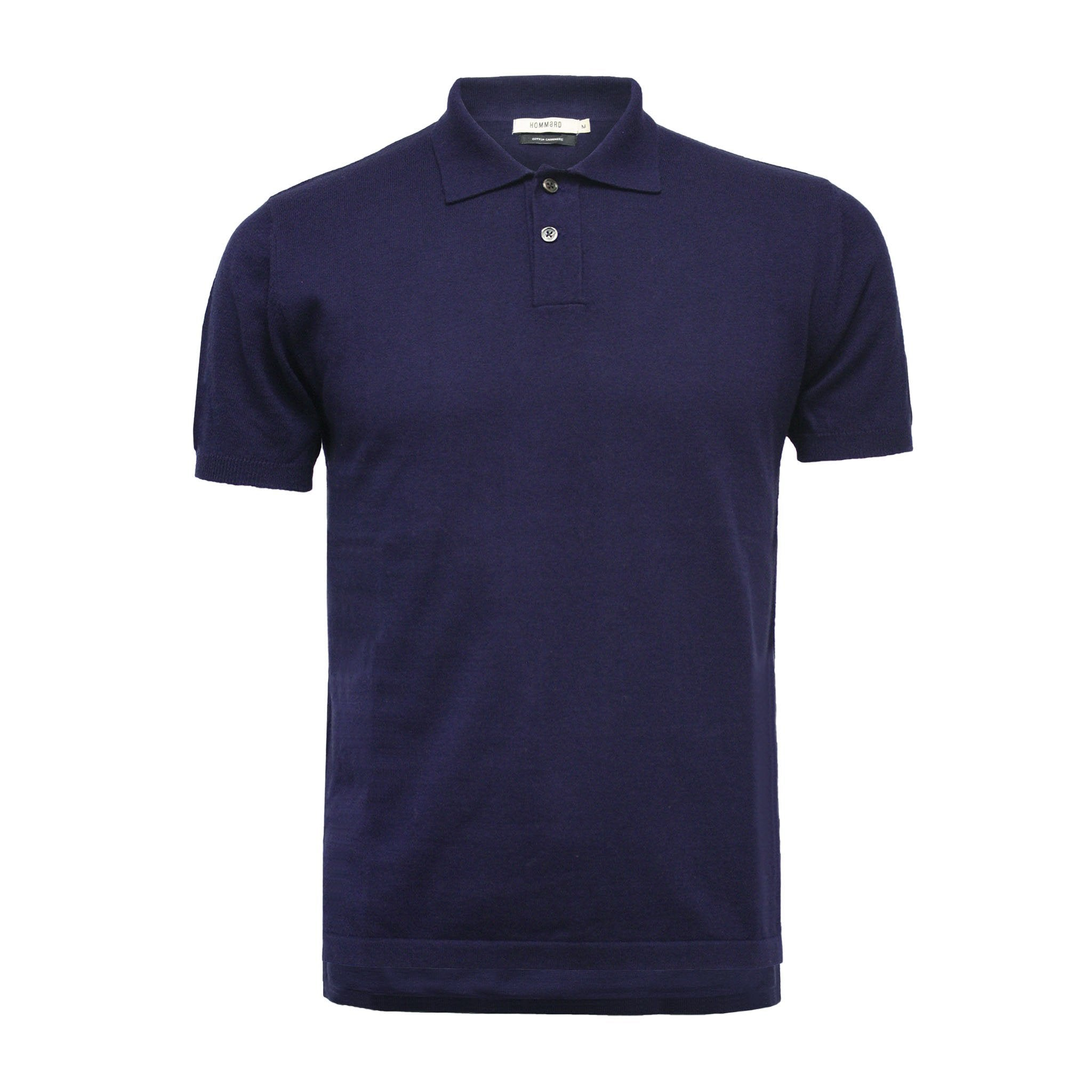 Navy Men´s Cashmere Polo Shirt Hampton in Cotton Cashmere - Hommard