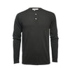 Black Men´s Jersey Henley T Shirt Long Sleeves St Tropez - Hommard