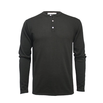 Men´s Jersey Henley T Shirt black Long Sleeves St Tropez - Hommard