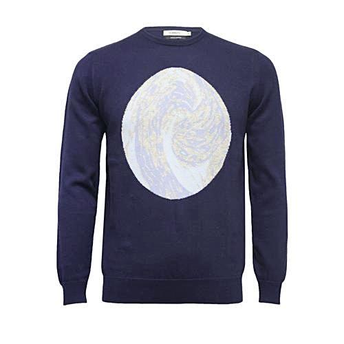 Men´s Crew Neck Sweater with Intarsia Wave design - Hommard