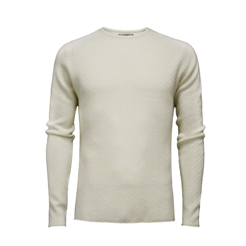 Men´s Cashmere Sweater Crew Neck Cabo in Carbon stitch