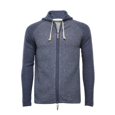 Men´s Cashmere Hooded Zipper Sweater in Diagonal Stitch Coomba - Hommard