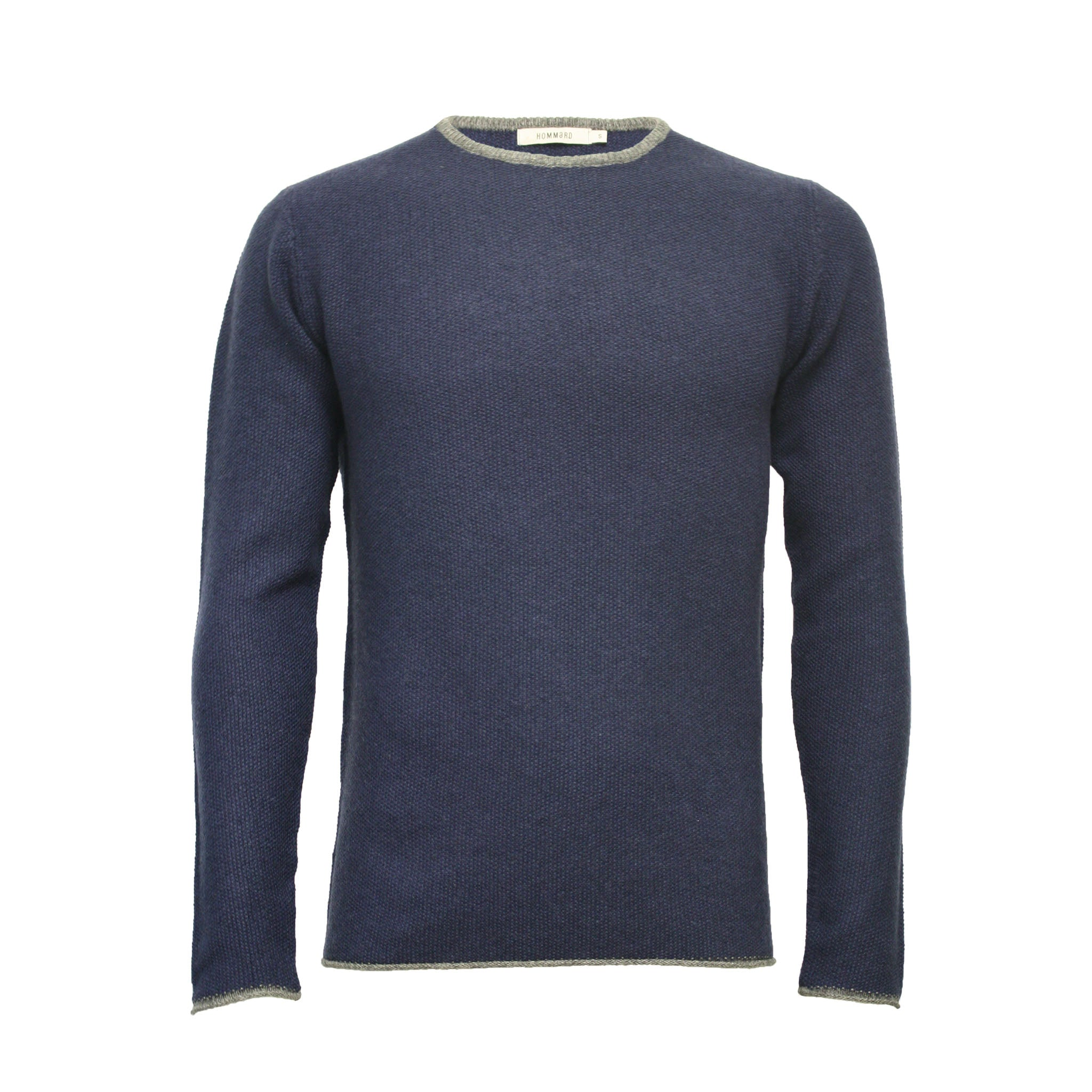 Men´s Cashmere Crew Neck Sweater Shuttle in Rice Stitch - Hommard