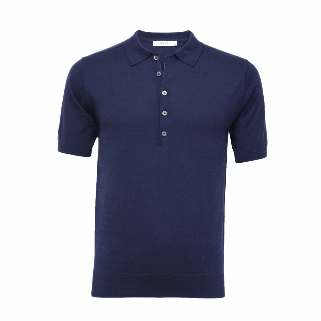 Men´s Silk Polo Shirt 5 Buttons Navy - Hommard