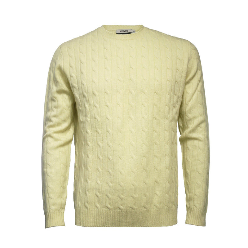 Men´s Cashmere Crew Neck Cable Sweater Yellow - Hommard