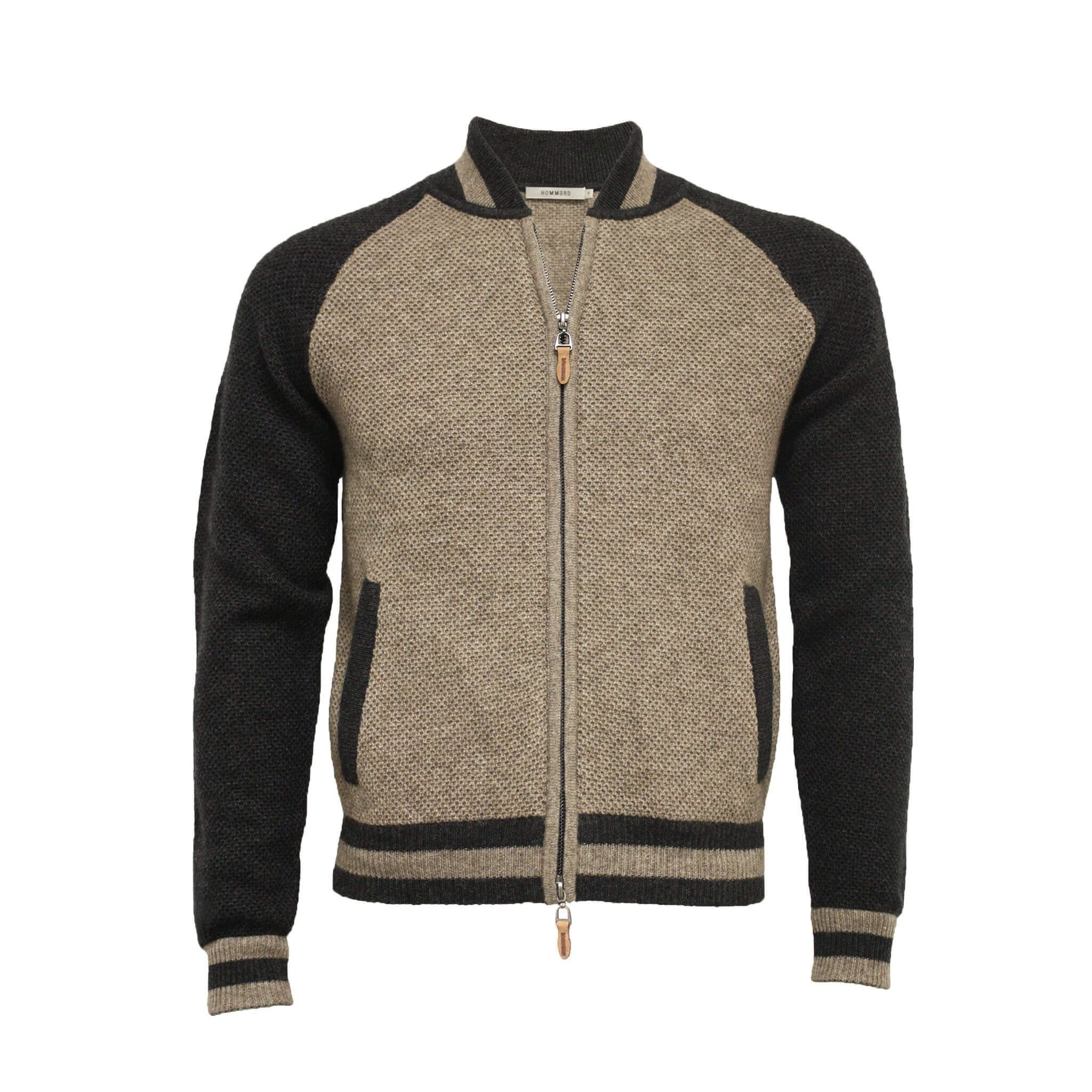 Men´s Cashmere Bomber Jacket in Honey comb stitch Toharu - Hommard