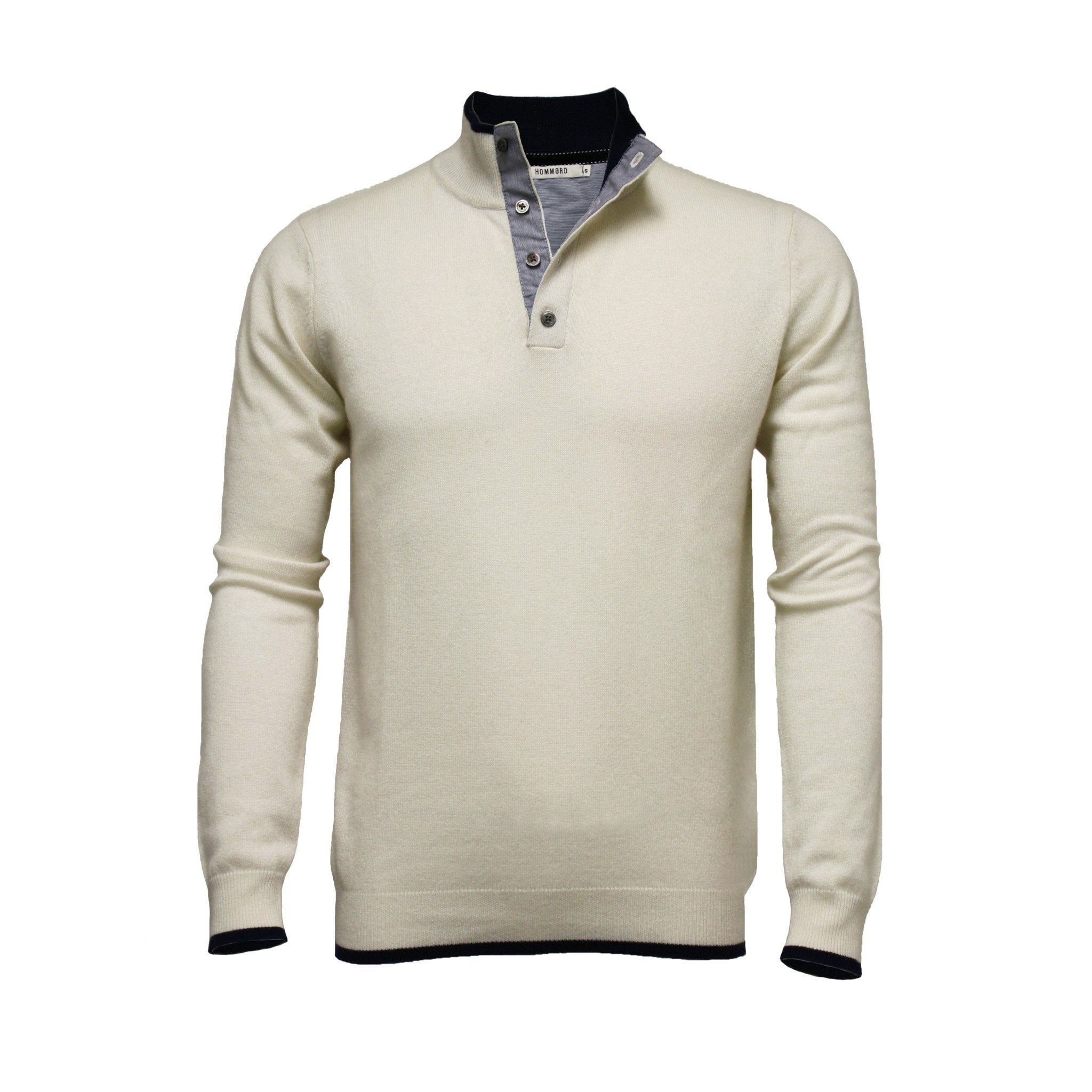 Men´s Silk Cashmere Button Neck Sweater Woolwhite