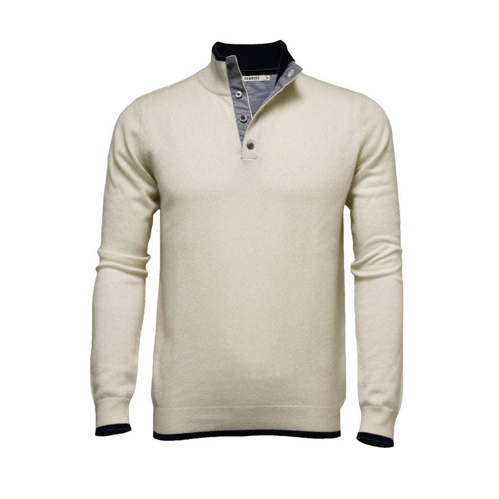 Men´s Cashmere Sweater Button Neck Silk Cashmere - Hommard