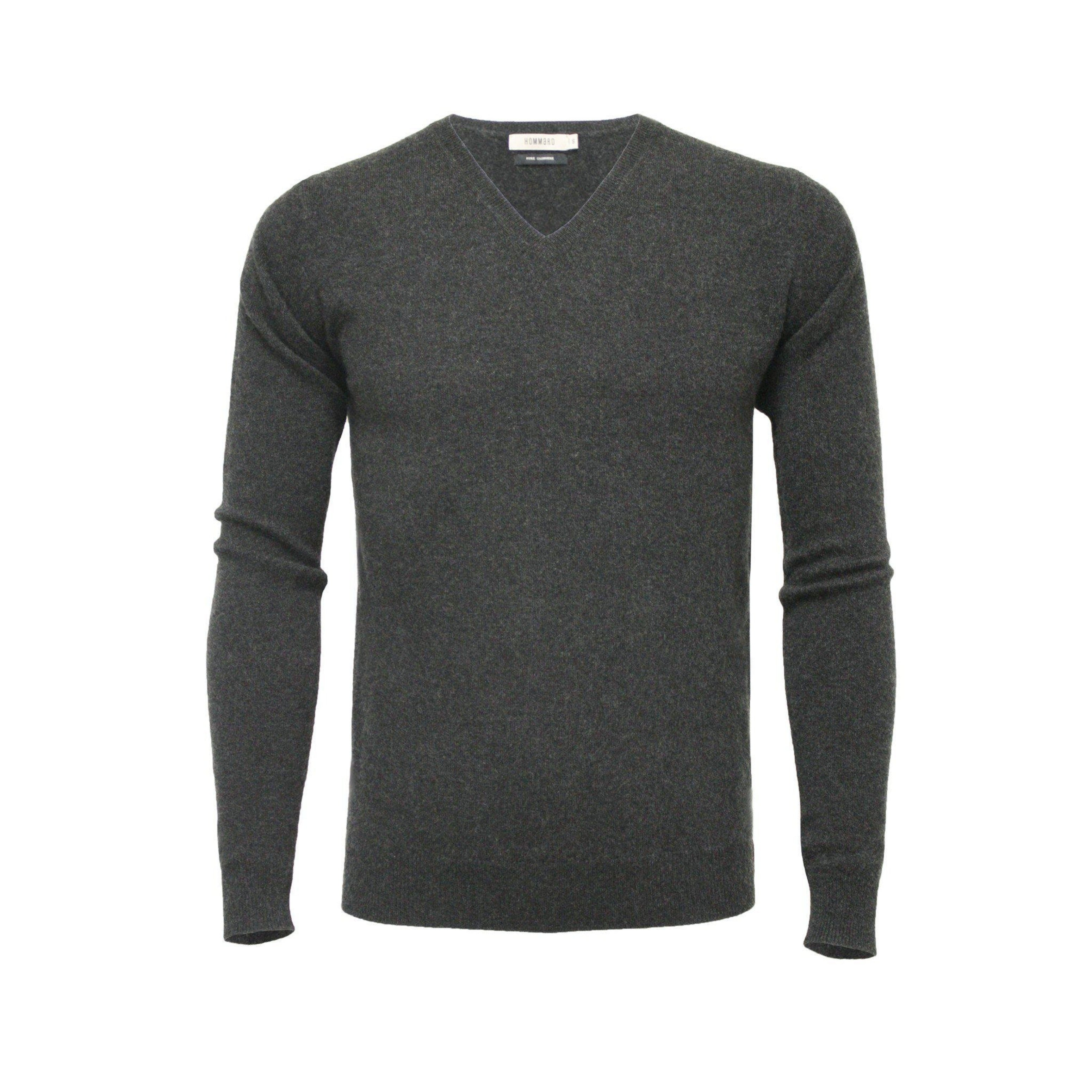 Cashmere V Neck Sweater Charcoal