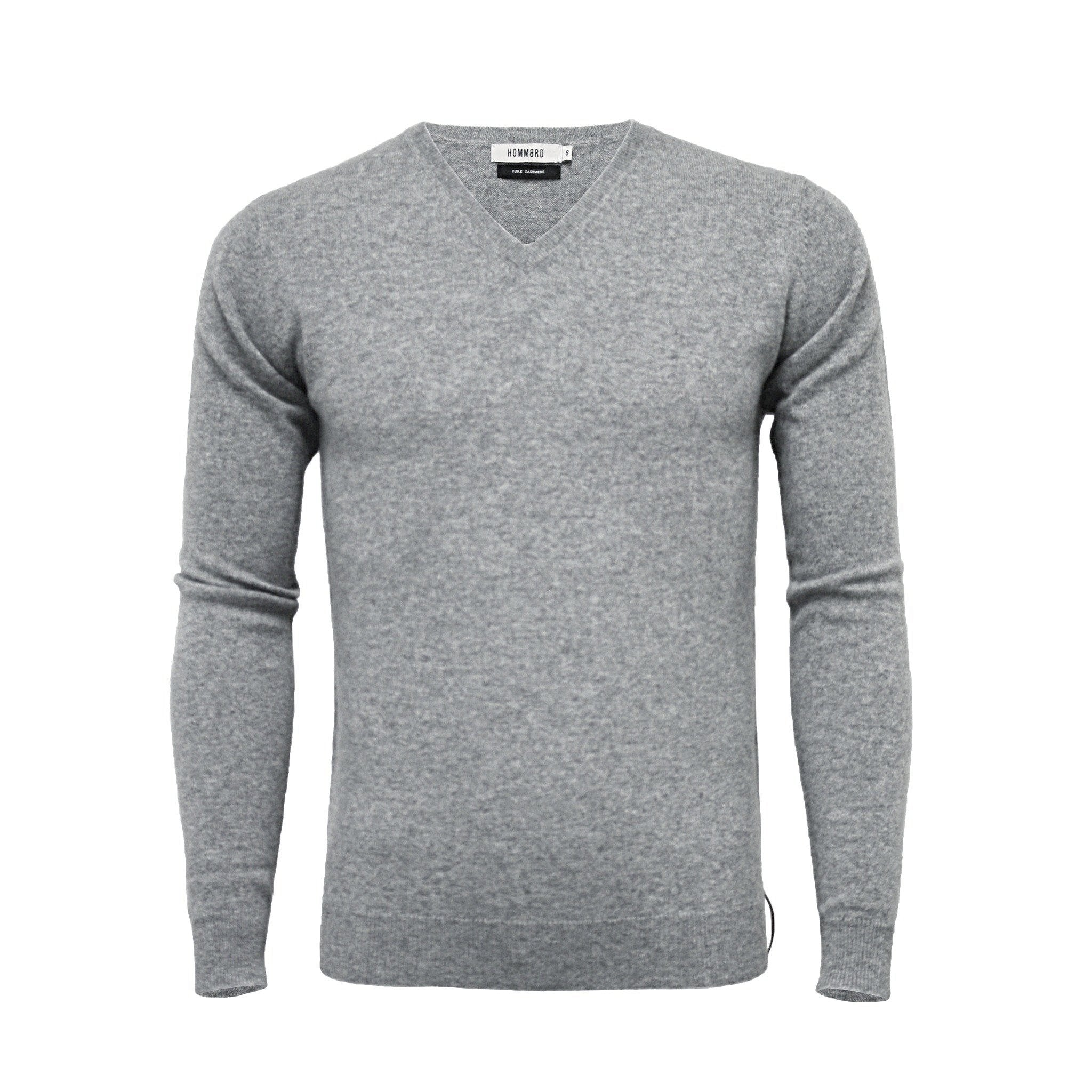 Cashmere V Neck Sweater Silver Grey