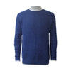 Blue Men´s Cashmere Crewneck Sweater in heavy seed stitch knit Vence - Hommard
