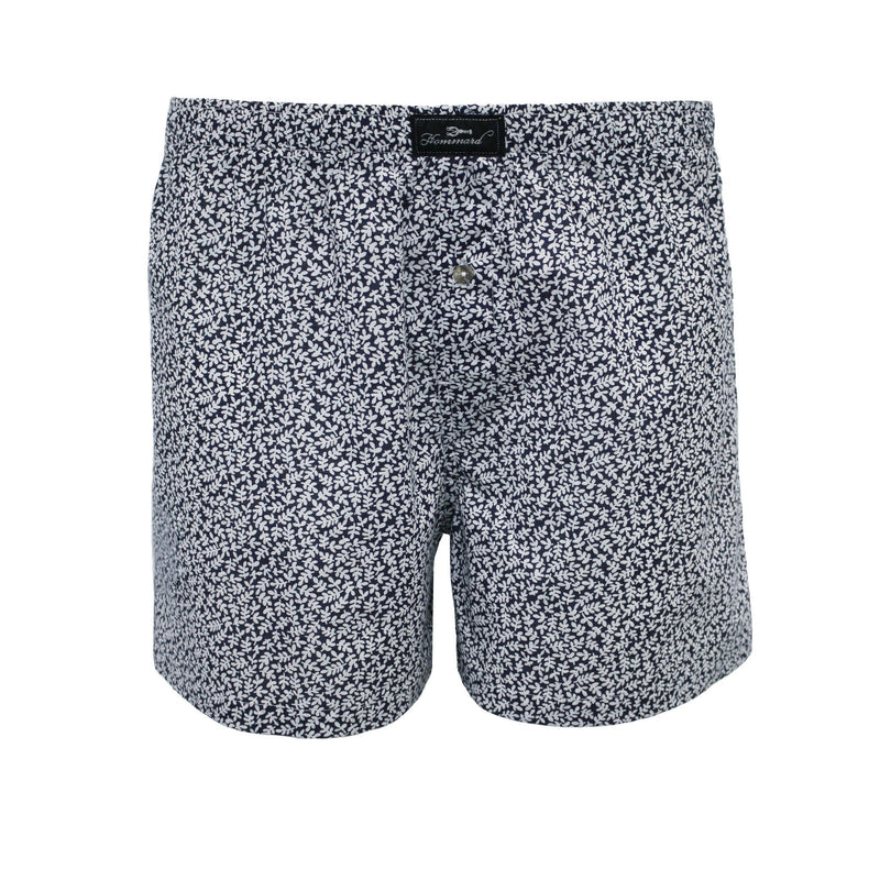 Navy White leaves Men´s Woven Cotton Boxer Shorts - Hommard