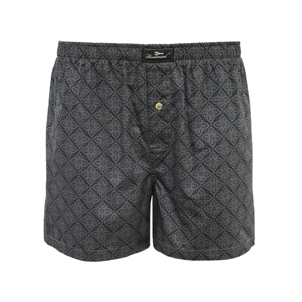 Dark Grey Paisley Men´s Woven Cotton Boxer Shorts - Hommard
