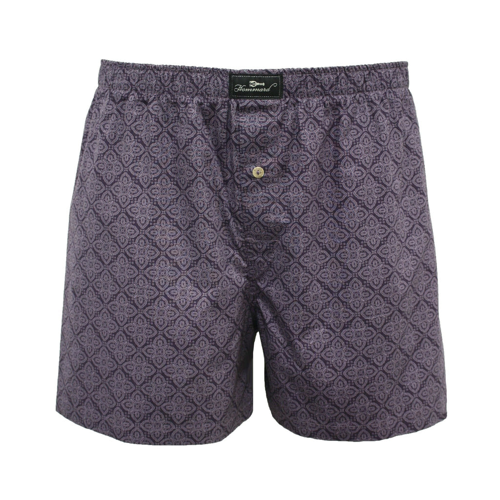 Purple Paisley Men´s Woven Cotton Boxer Shorts - Hommard