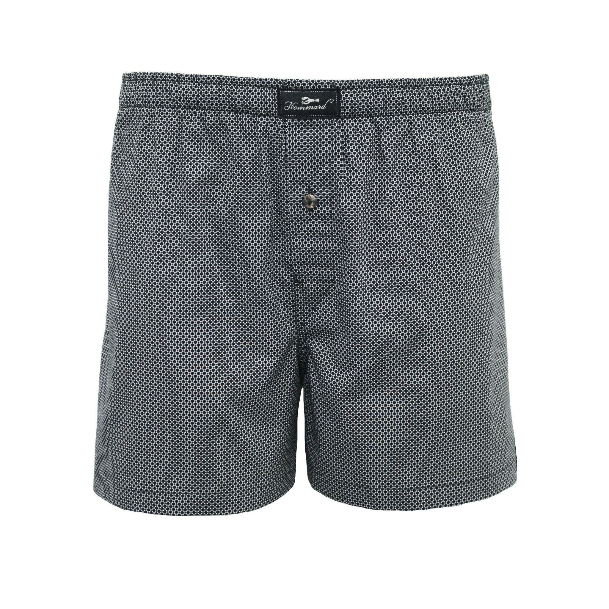 Black Dot B Men´s Woven Cotton Boxer Shorts - Hommard