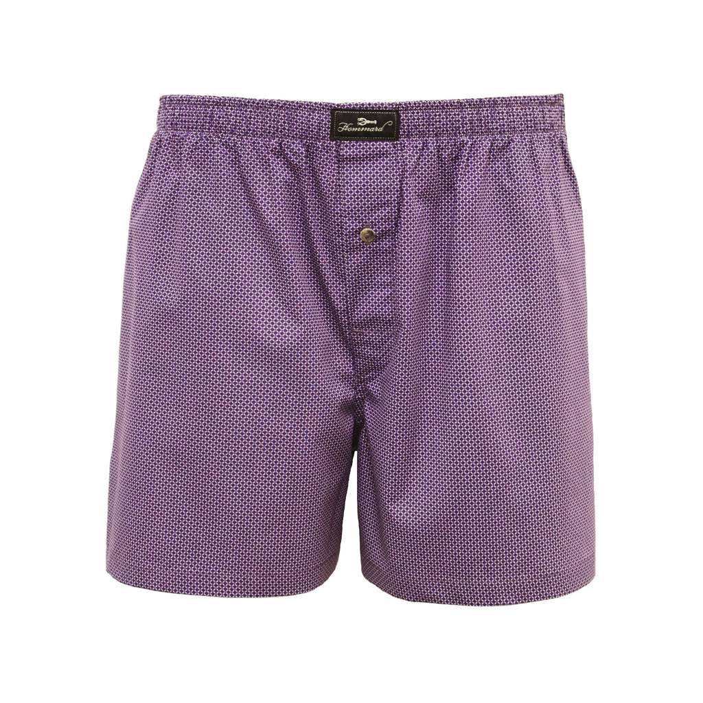 Dark Purple Dot Men´s Woven Cotton Boxer Shorts - Hommard