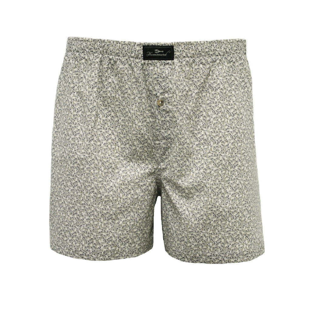 Beige Flower Men´s Woven Cotton Boxer Shorts - Hommard