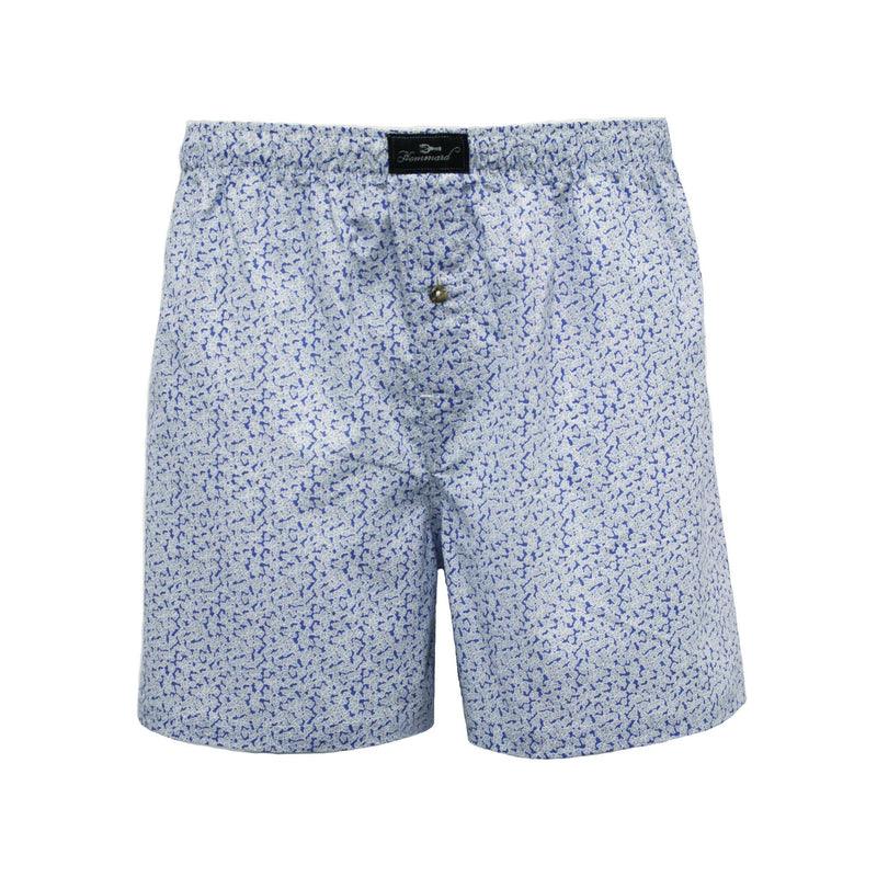 Blue Flower Men´s Woven Cotton Boxer Shorts - Hommard